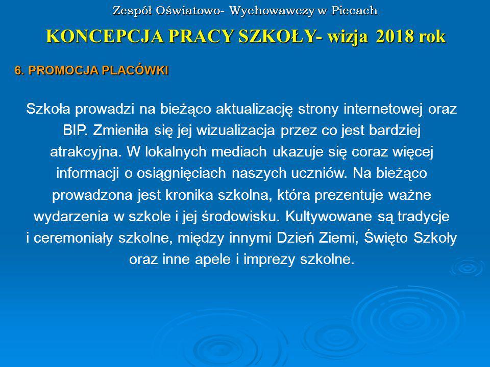 Zespół Oświatowo- Wychowawczy w Piecach KONCEPCJA PRACY SZKOŁY- wizja 2018 rok 6.