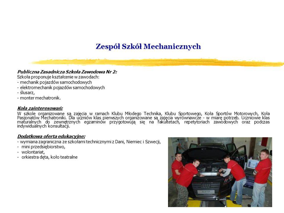 Zespół Szkół Mechanicznych Publiczna Zasadnicza Szkoła Zawodowa Nr 2: Szkoła proponuje kształcenie w zawodach: - mechanik pojazdów samochodowych - ele