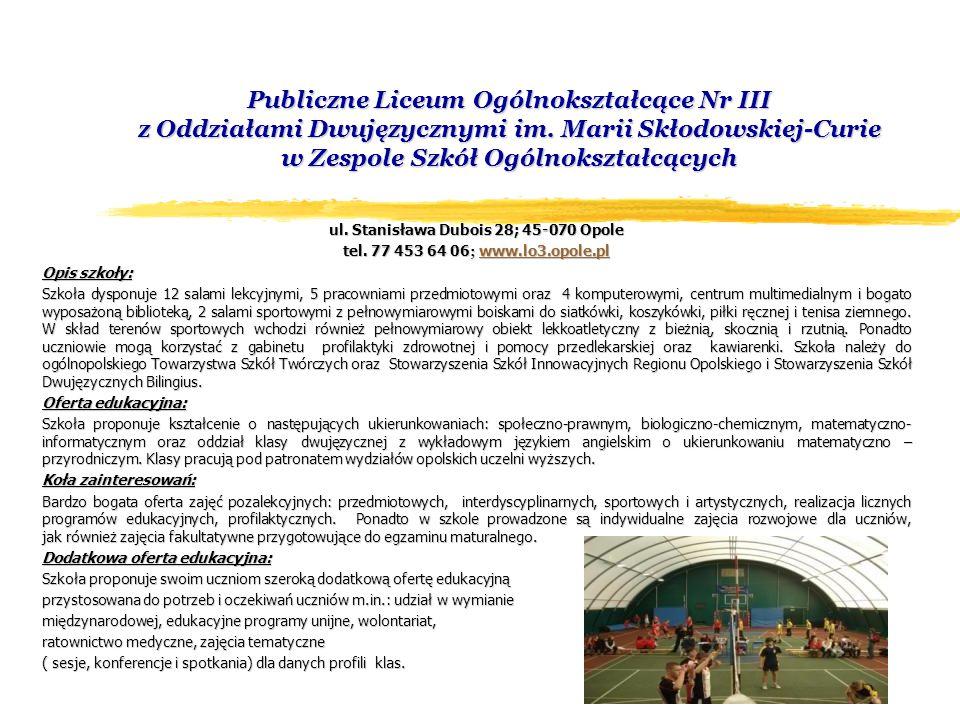 Międzyszkolny Ośrodek Sportowy ul.Katowicka 14; 45-061 Opole tel.