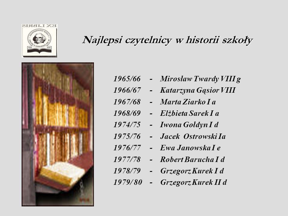 1980/81 - Grzegorz Kurek III d 1981/82 - Renata Szczecińska I a 1982/83 - Renata Szczecińska II a 1983/84 - Małgorzata Wilk II f 1984/85 - Teresa Barczyńska I e 1985/86 - Izabela Dudek I b 1986/87 - Agnieszka Sapa III c 1987/88 - Agnieszka Sapa IV c 1990/91 - Karolina Polakowska I d 1991/92 - Karolina Polakowska I d 1992/93 - Monika Kondek II a 1993/94 - Anna Słowińska IV a 1994/95 - Agnieszka Oleksy III f 1995/96 - Michał Wojtasik III e 1996/97 - Konrad Osajda II a