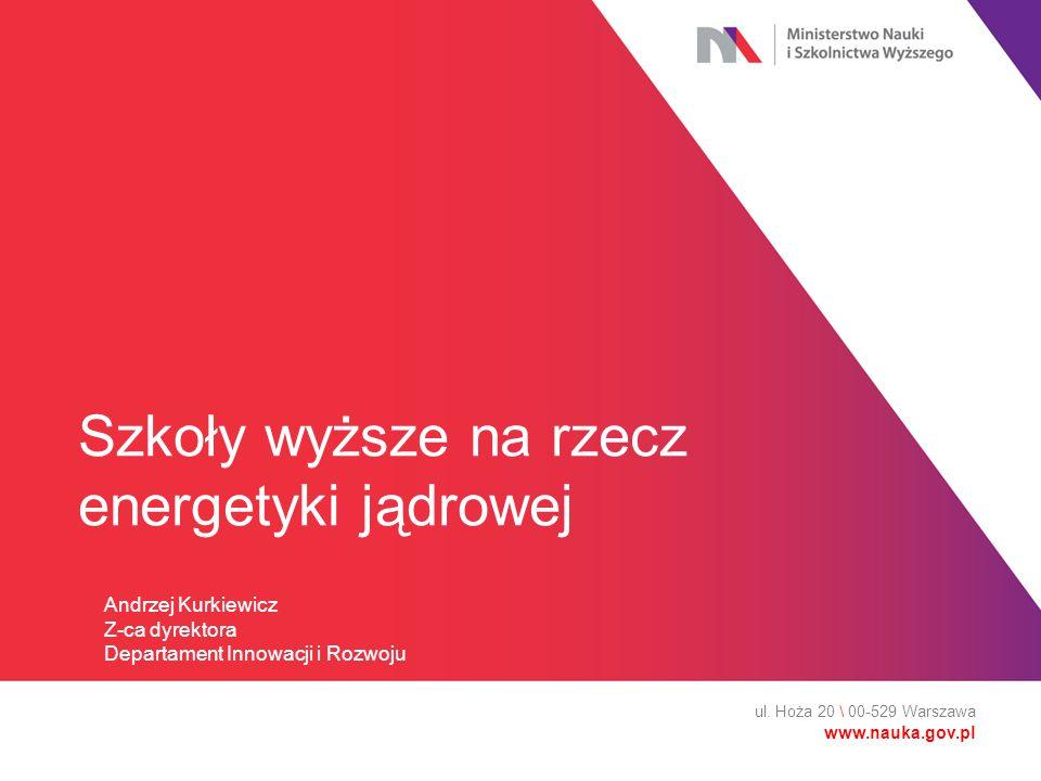 Szkoły wyższe na rzecz energetyki jądrowej ul. Hoża 20 \ 00-529 Warszawa www.nauka.gov.pl Andrzej Kurkiewicz Z-ca dyrektora Departament Innowacji i Ro