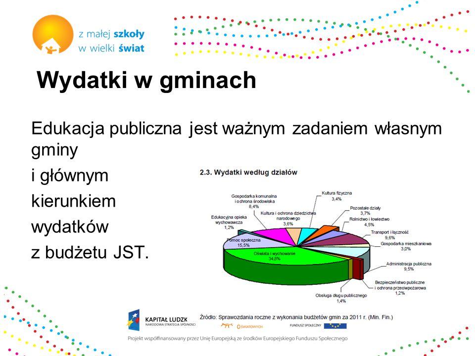 Wydatki w gminach Edukacja publiczna jest ważnym zadaniem własnym gminy i głównym kierunkiem wydatków z budżetu JST.