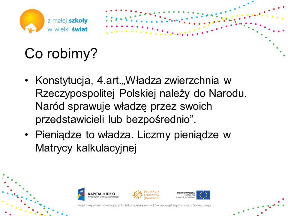 """Co robimy. Konstytucja, 4.art.""""Władza zwierzchnia w Rzeczypospolitej Polskiej należy do Narodu."""