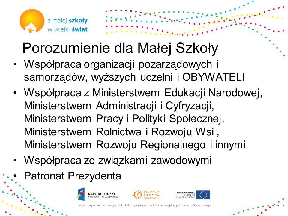 Porozumienie dla Małej Szkoły Współpraca organizacji pozarządowych i samorządów, wyższych uczelni i OBYWATELI Współpraca z Ministerstwem Edukacji Narodowej, Ministerstwem Administracji i Cyfryzacji, Ministerstwem Pracy i Polityki Społecznej, Ministerstwem Rolnictwa i Rozwoju Wsi, Ministerstwem Rozwoju Regionalnego i innymi Współpraca ze związkami zawodowymi Patronat Prezydenta
