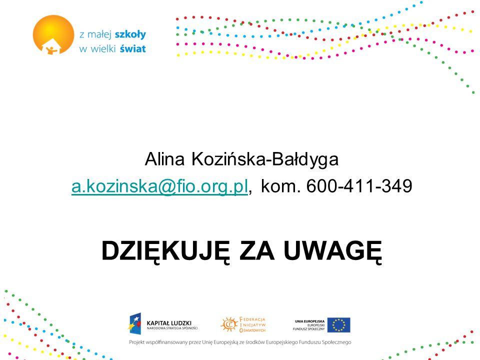 DZIĘKUJĘ ZA UWAGĘ Alina Kozińska-Bałdyga a.kozinska@fio.org.pla.kozinska@fio.org.pl, kom.