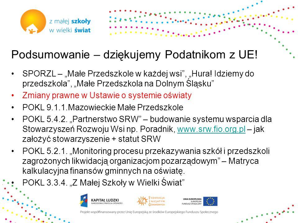 """Podsumowanie – dziękujemy Podatnikom z UE. SPORZL – """"Małe Przedszkole w każdej wsi , """"Hura."""