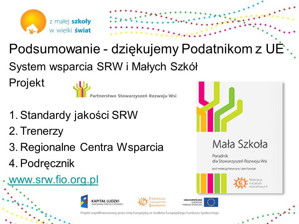 Podsumowanie - dziękujemy Podatnikom z UE System wsparcia SRW i Małych Szkół Projekt 1.Standardy jakości SRW 2.Trenerzy 3.Regionalne Centra Wsparcia 4.Podręcznik www.srw.fio.org.pl
