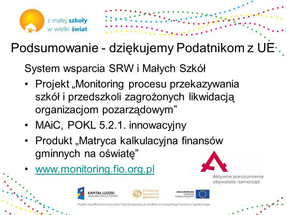 """Podsumowanie - dziękujemy Podatnikom z UE System wsparcia SRW i Małych Szkół Projekt """"Monitoring procesu przekazywania szkół i przedszkoli zagrożonych likwidacją organizacjom pozarządowym MAiC, POKL 5.2.1."""