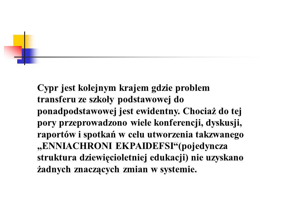 Cypr jest kolejnym krajem gdzie problem transferu ze szkoły podstawowej do ponadpodstawowej jest ewidentny.