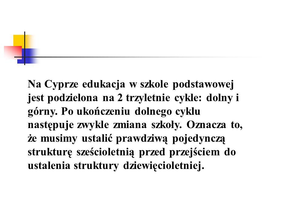 Na Cyprze edukacja w szkole podstawowej jest podzielona na 2 trzyletnie cykle: dolny i górny.