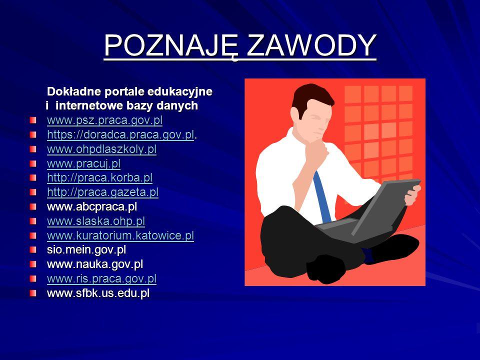 POZNAJĘ ZAWODY Dokładne portale edukacyjne i internetowe bazy danych i internetowe bazy danych www.psz.praca.gov.pl https://doradca.praca.gov.plhttps://doradca.praca.gov.pl.