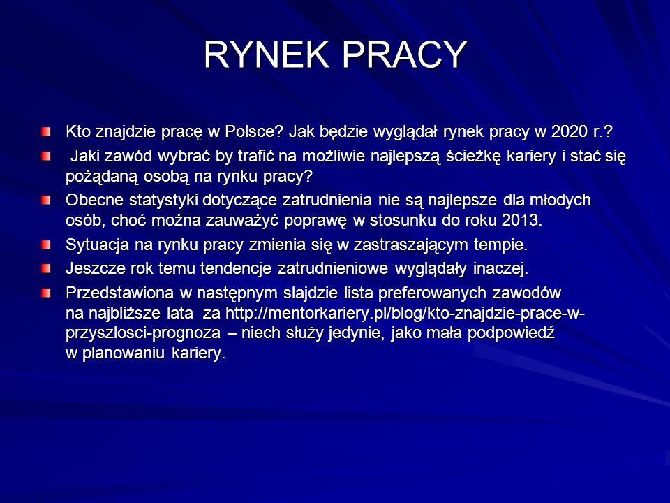 RYNEK PRACY Kto znajdzie pracę w Polsce? Jak będzie wyglądał rynek pracy w 2020 r.? Jaki zawód wybrać by trafić na możliwie najlepszą ścieżkę kariery