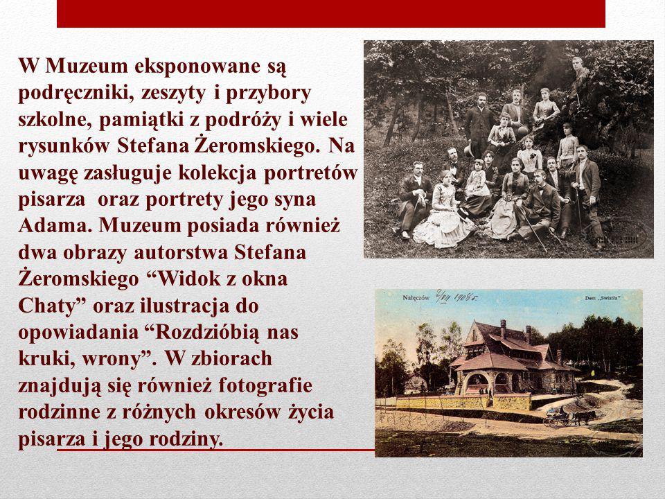 W Muzeum eksponowane są podręczniki, zeszyty i przybory szkolne, pamiątki z podróży i wiele rysunków Stefana Żeromskiego. Na uwagę zasługuje kolekcja