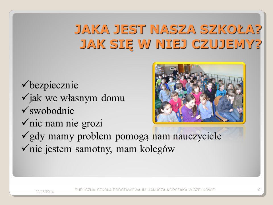 JAKA JEST NASZA SZKOŁA? JAK SIĘ W NIEJ CZUJEMY? bezpiecznie jak we własnym domu swobodnie nic nam nie grozi gdy mamy problem pomogą nam nauczyciele ni