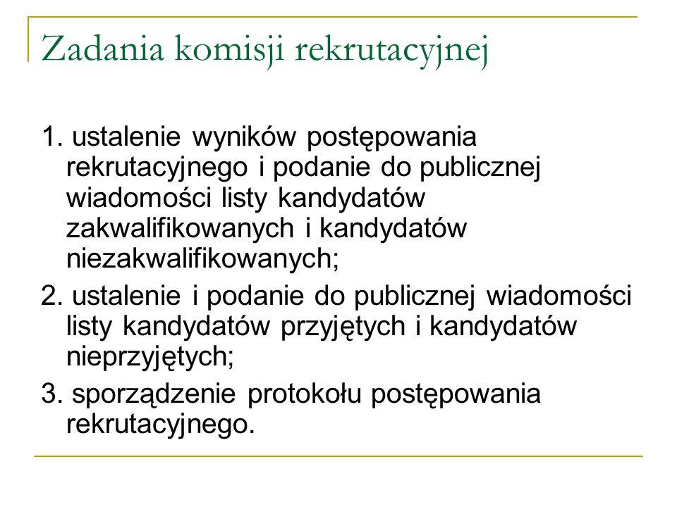 Zadania komisji rekrutacyjnej 1. ustalenie wyników postępowania rekrutacyjnego i podanie do publicznej wiadomości listy kandydatów zakwalifikowanych i