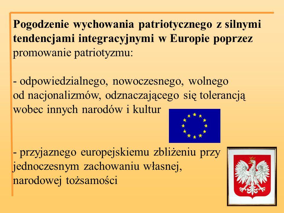 Pogodzenie wychowania patriotycznego z silnymi tendencjami integracyjnymi w Europie poprzez promowanie patriotyzmu: - odpowiedzialnego, nowoczesnego, wolnego od nacjonalizmów, odznaczającego się tolerancją wobec innych narodów i kultur - przyjaznego europejskiemu zbliżeniu przy jednoczesnym zachowaniu własnej, narodowej tożsamości
