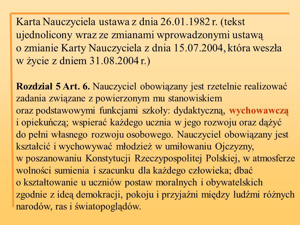Karta Nauczyciela ustawa z dnia 26.01.1982 r.