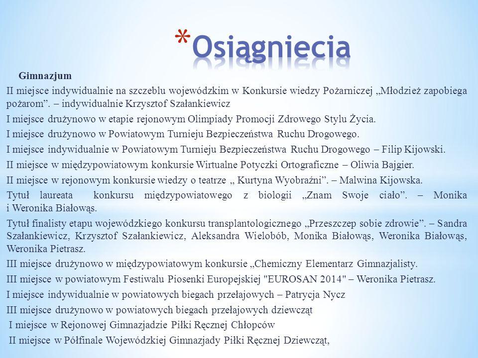 """Gimnazjum II miejsce indywidualnie na szczeblu wojewódzkim w Konkursie wiedzy Pożarniczej """"Młodzież zapobiega pożarom ."""