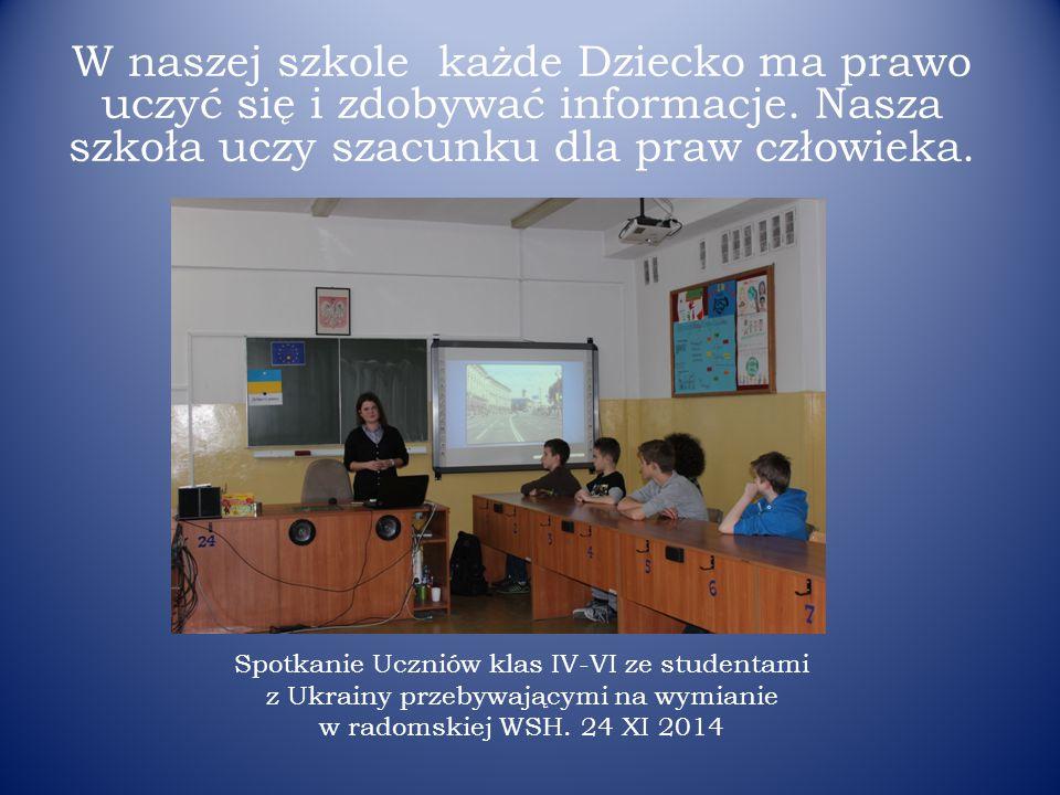 Spotkanie Uczniów klas IV-VI ze studentami z Ukrainy przebywającymi na wymianie w radomskiej WSH.