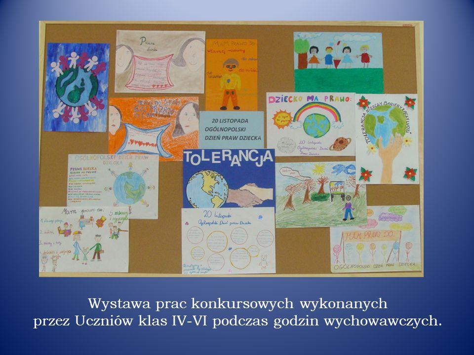 Wystawa prac konkursowych wykonanych przez Uczniów klas IV-VI podczas godzin wychowawczych.