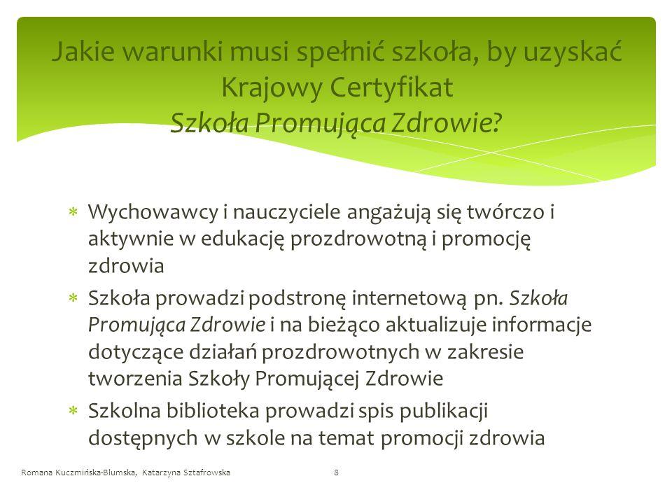 Standardy Szkoły Promującej Zdrowie Romana Kuczmińska-Blumska, Katarzyna Sztafrowska9