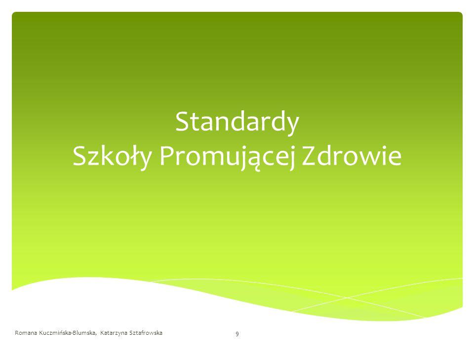Szkoła Promująca Zdrowie pomaga członkom społeczności szkolnej (w tym rodzicom) zrozumieć i zaakceptować koncepcję szkoły promującej zdrowie Standard pierwszy Romana Kuczmińska-Blumska, Katarzyna Sztafrowska10