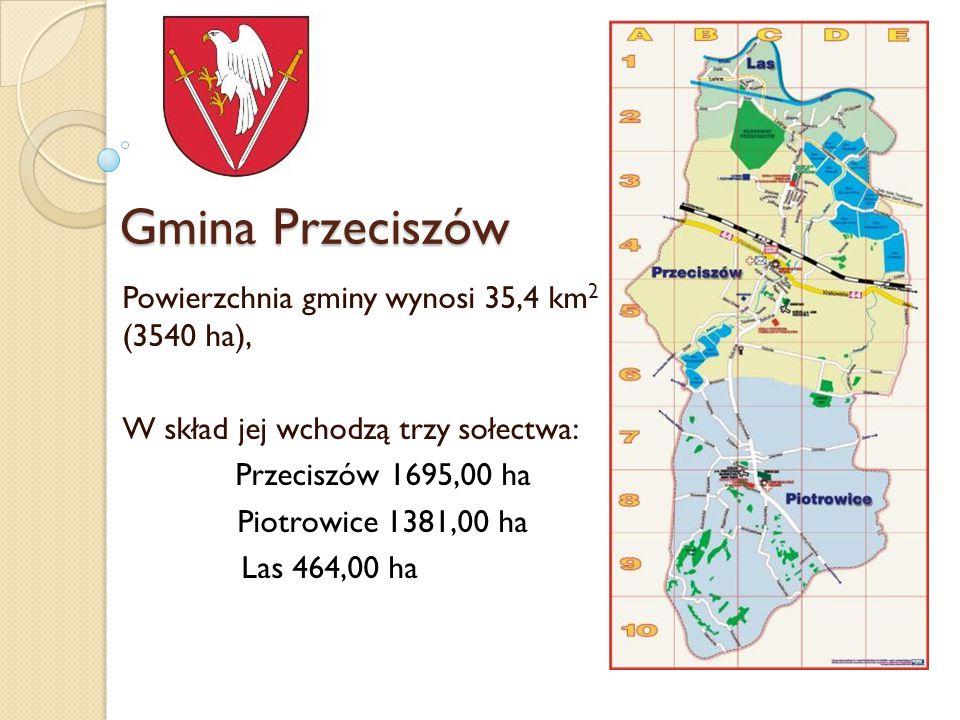 Gmina Przeciszów Powierzchnia gminy wynosi 35,4 km 2 (3540 ha), W skład jej wchodzą trzy sołectwa: Przeciszów 1695,00 ha Piotrowice 1381,00 ha Las 464