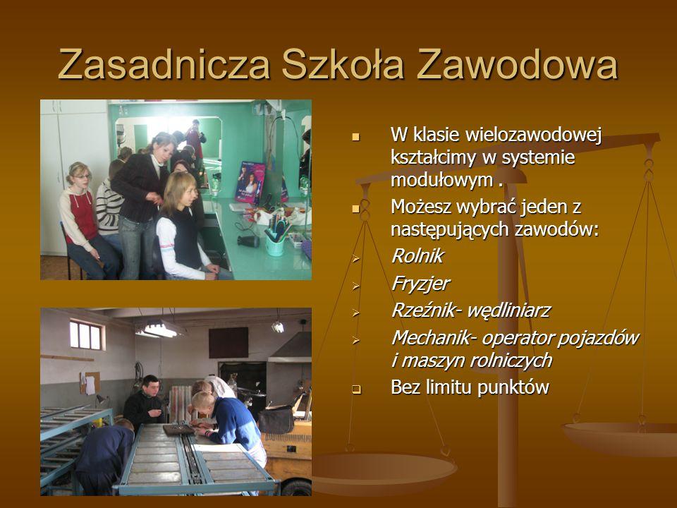 Zasadnicza Szkoła Zawodowa W klasie wielozawodowej kształcimy w systemie modułowym.