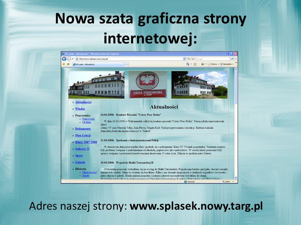 Nowa szata graficzna strony internetowej: Adres naszej strony: www.splasek.nowy.targ.pl