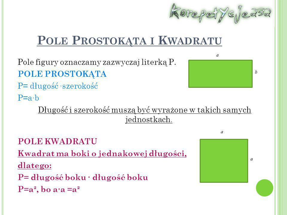 P OLE P ROSTOKĄTA I K WADRATU Pole figury oznaczamy zazwyczaj literką P. POLE PROSTOKĄTA P= długość ∙szerokość P=a∙b Długość i szerokość muszą być wyr