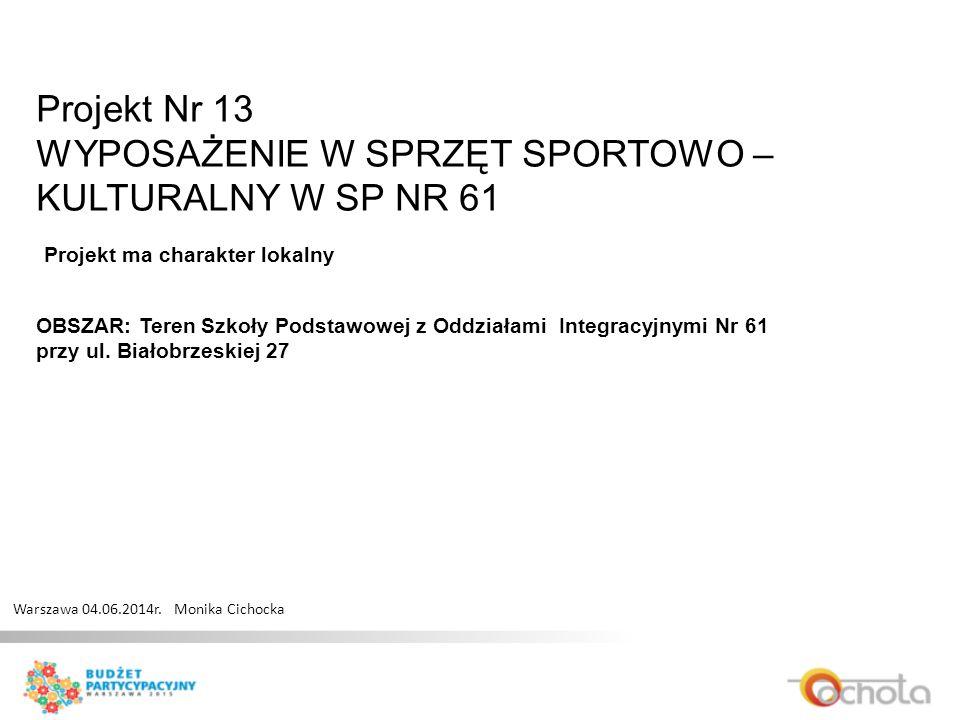 Projekt Nr 13 WYPOSAŻENIE W SPRZĘT SPORTOWO – KULTURALNY W SP NR 61 Warszawa 04.06.2014r.