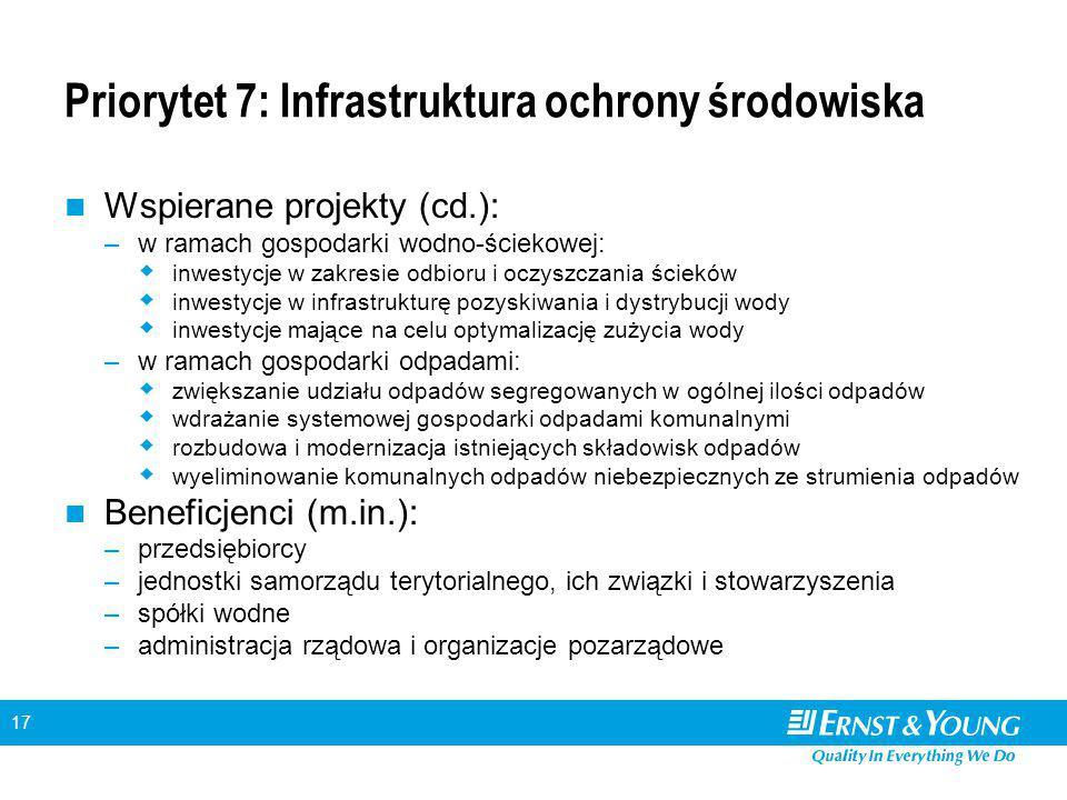 17 Priorytet 7: Infrastruktura ochrony środowiska Wspierane projekty (cd.): –w ramach gospodarki wodno-ściekowej:  inwestycje w zakresie odbioru i oc