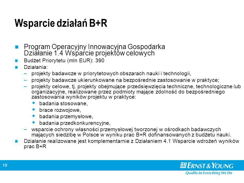 19 Wsparcie działań B+R Program Operacyjny Innowacyjna Gospodarka Działanie 1.4 Wsparcie projektów celowych Budżet Priorytetu (mln EUR): 390 Działania: –projekty badawcze w priorytetowych obszarach nauki i technologii, –projekty badawcze ukierunkowane na bezpośrednie zastosowanie w praktyce; –projekty celowe, tj.