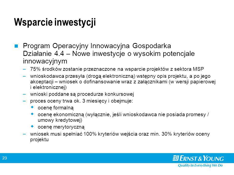 23 Wsparcie inwestycji Program Operacyjny Innowacyjna Gospodarka Działanie 4.4 – Nowe inwestycje o wysokim potencjale innowacyjnym –75% środków zostanie przeznaczone na wsparcie projektów z sektora MSP –wnioskodawca przesyła (drogą elektroniczną) wstępny opis projektu, a po jego akceptacji – wniosek o dofinansowanie wraz z załącznikami (w wersji papierowej i elektronicznej) –wnioski poddane są procedurze konkursowej –proces oceny trwa ok.