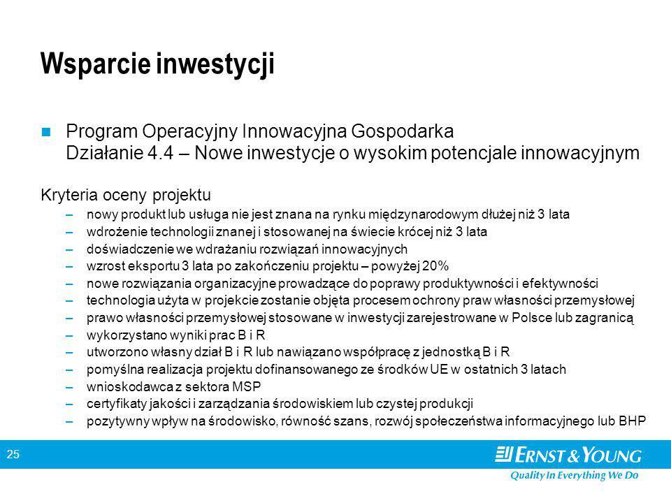 25 Wsparcie inwestycji Program Operacyjny Innowacyjna Gospodarka Działanie 4.4 – Nowe inwestycje o wysokim potencjale innowacyjnym Kryteria oceny proj
