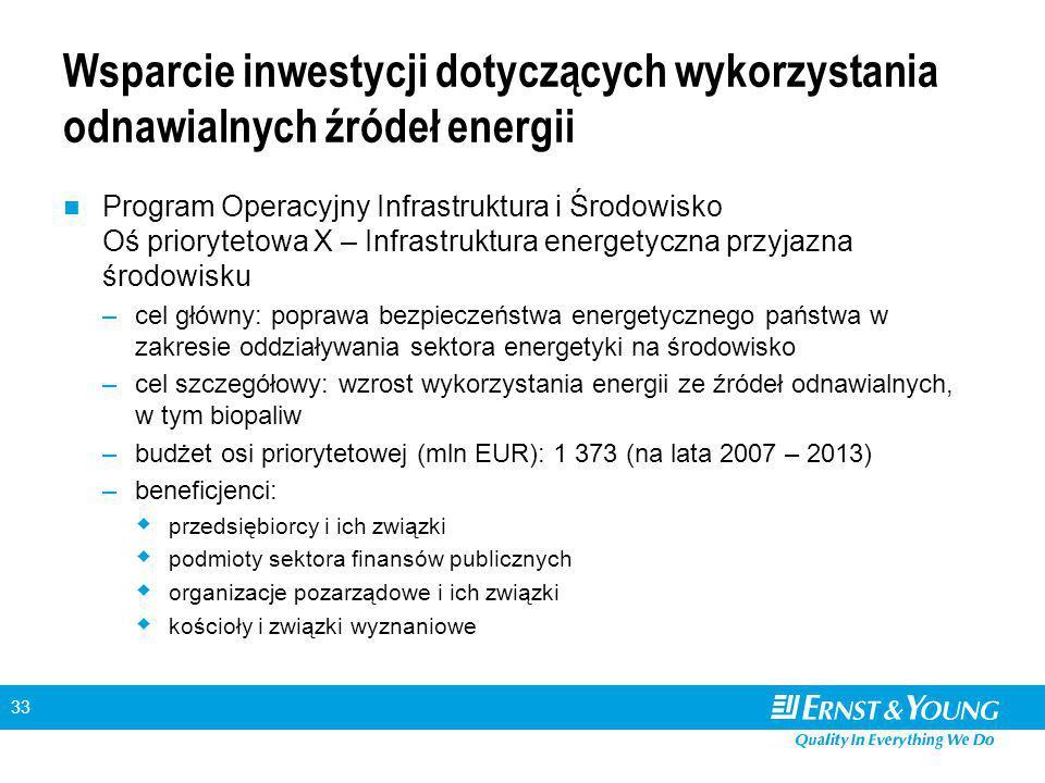 33 Wsparcie inwestycji dotyczących wykorzystania odnawialnych źródeł energii Program Operacyjny Infrastruktura i Środowisko Oś priorytetowa X – Infrastruktura energetyczna przyjazna środowisku –cel główny: poprawa bezpieczeństwa energetycznego państwa w zakresie oddziaływania sektora energetyki na środowisko –cel szczegółowy: wzrost wykorzystania energii ze źródeł odnawialnych, w tym biopaliw –budżet osi priorytetowej (mln EUR): 1 373 (na lata 2007 – 2013) –beneficjenci:  przedsiębiorcy i ich związki  podmioty sektora finansów publicznych  organizacje pozarządowe i ich związki  kościoły i związki wyznaniowe