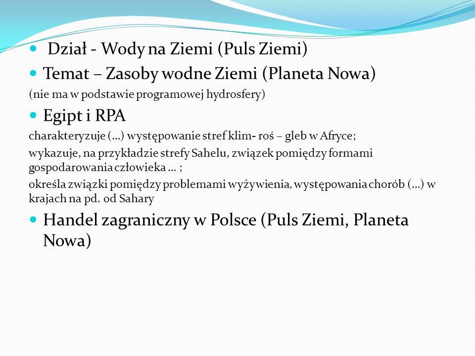 Dział - Wody na Ziemi (Puls Ziemi) Temat – Zasoby wodne Ziemi (Planeta Nowa) (nie ma w podstawie programowej hydrosfery) Egipt i RPA charakteryzuje (…