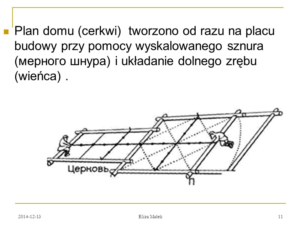 2014-12-13 Eliza Małek 11 Plan domu (cerkwi) tworzono od razu na placu budowy przy pomocy wyskalowanego sznura (мерного шнура) i układanie dolnego zrę