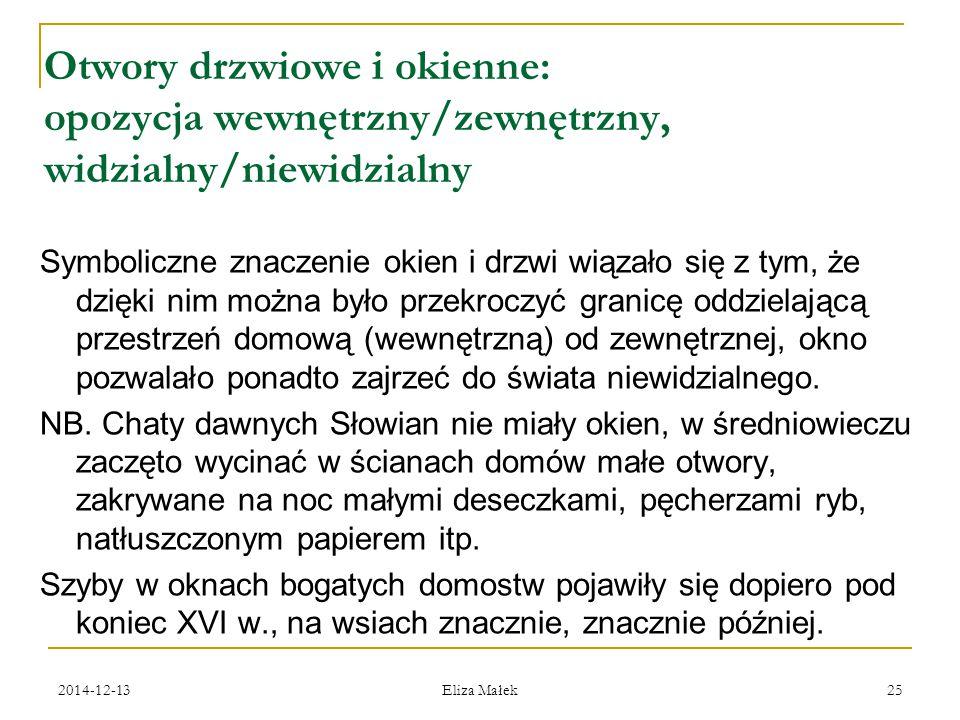 2014-12-13 Eliza Małek 25 Otwory drzwiowe i okienne: opozycja wewnętrzny/zewnętrzny, widzialny/niewidzialny Symboliczne znaczenie okien i drzwi wiązał