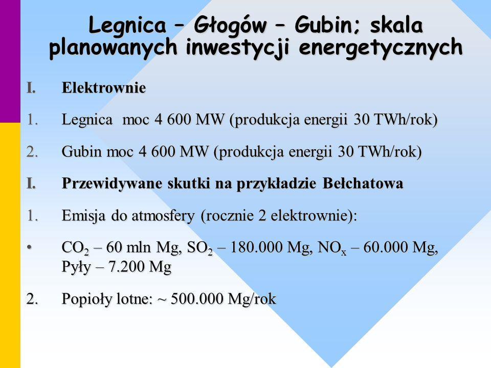 Legnica – Głogów – Gubin; skala planowanych inwestycji energetycznych I.Elektrownie 1.Legnica moc 4 600 MW (produkcja energii 30 TWh/rok) 2.Gubin moc