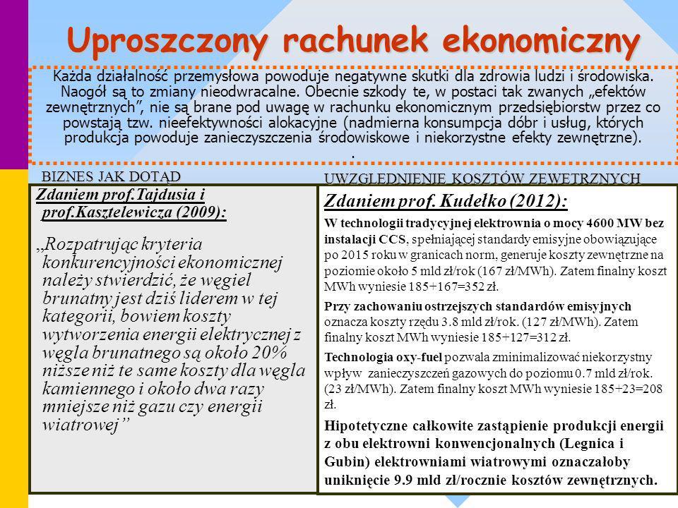 """Uproszczony rachunek ekonomiczny Zdaniem prof.Tajdusia i prof.Kasztelewicza (2009): """"Rozpatrując kryteria konkurencyjności ekonomicznej należy stwierd"""