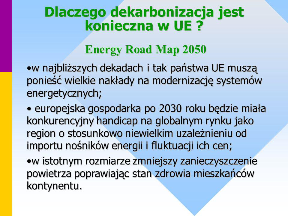 Dlaczego dekarbonizacja jest konieczna w UE ? w najbliższych dekadach i tak państwa UE muszą ponieść wielkie nakłady na modernizację systemów energety