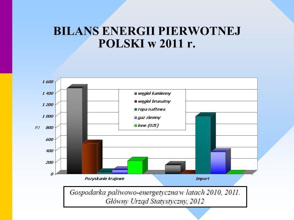 BILANS ENERGII PIERWOTNEJ POLSKI w 2011 r. Gospodarka paliwowo-energetyczna w latach 2010, 2011. Główny Urząd Statystyczny, 2012