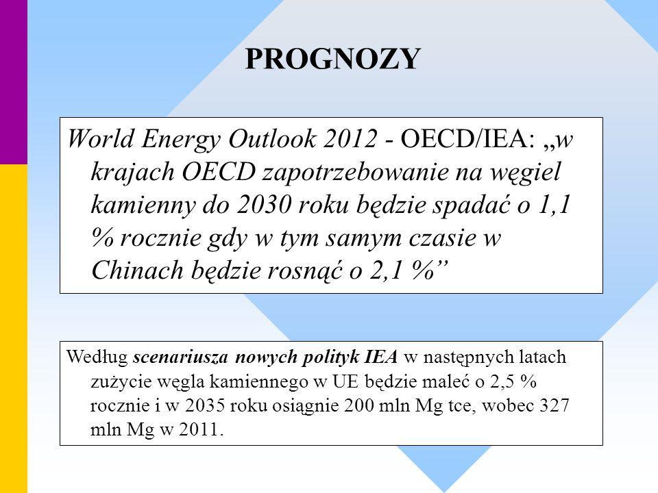 """World Energy Outlook 2012 - OECD/IEA: """"w krajach OECD zapotrzebowanie na węgiel kamienny do 2030 roku będzie spadać o 1,1 % rocznie gdy w tym samym cz"""