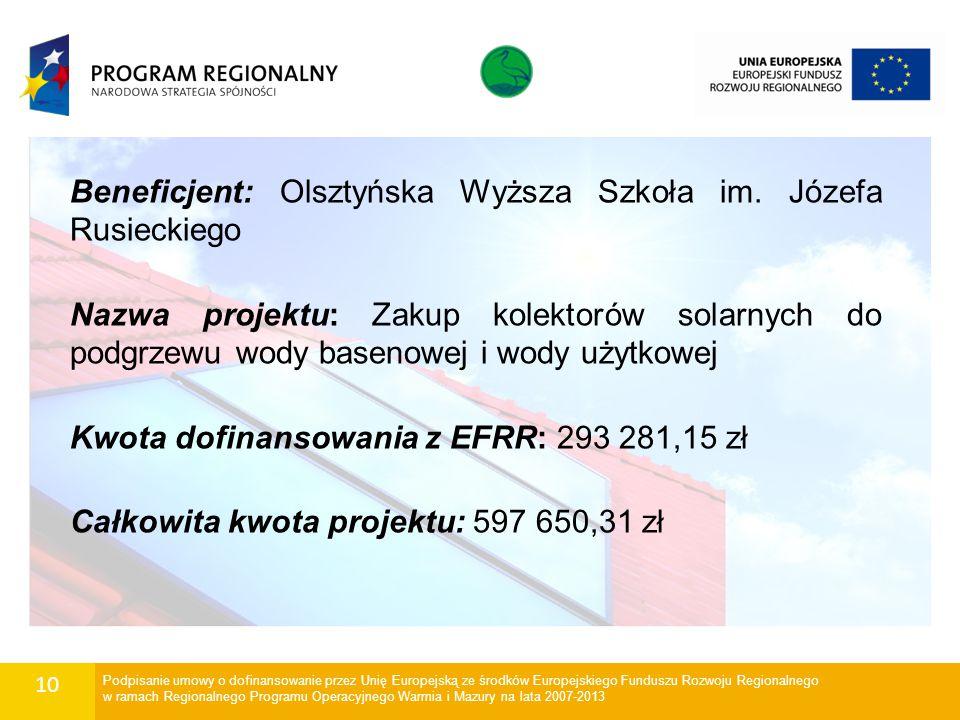 10 Beneficjent: Olsztyńska Wyższa Szkoła im. Józefa Rusieckiego Nazwa projektu: Zakup kolektorów solarnych do podgrzewu wody basenowej i wody użytkowe