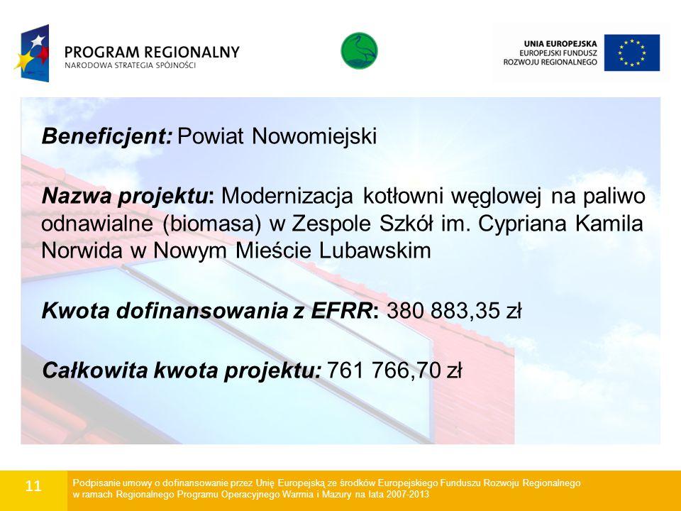 11 Beneficjent: Powiat Nowomiejski Nazwa projektu: Modernizacja kotłowni węglowej na paliwo odnawialne (biomasa) w Zespole Szkół im. Cypriana Kamila N