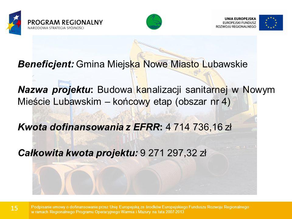 15 Beneficjent: Gmina Miejska Nowe Miasto Lubawskie Nazwa projektu: Budowa kanalizacji sanitarnej w Nowym Mieście Lubawskim – końcowy etap (obszar nr
