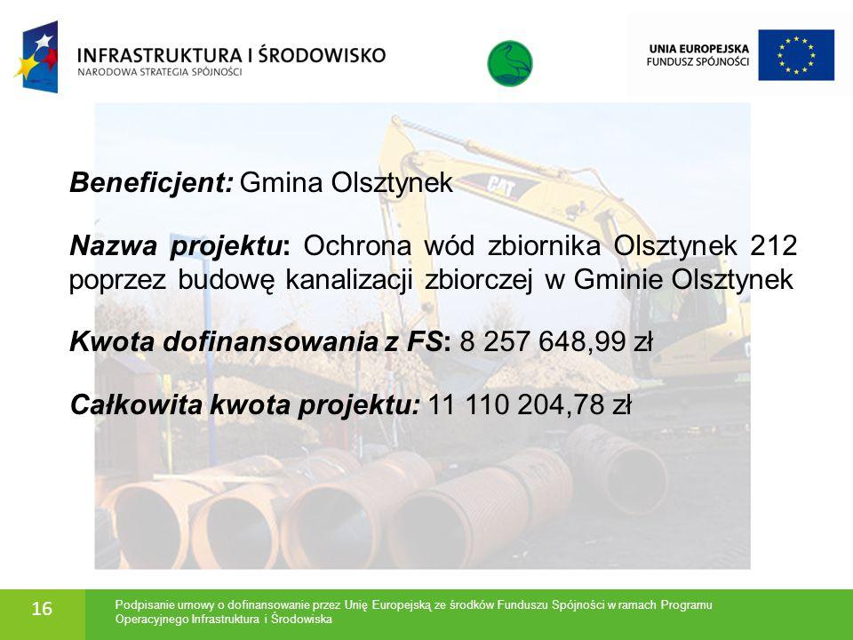 Beneficjent: Gmina Olsztynek Nazwa projektu: Ochrona wód zbiornika Olsztynek 212 poprzez budowę kanalizacji zbiorczej w Gminie Olsztynek Kwota dofinan