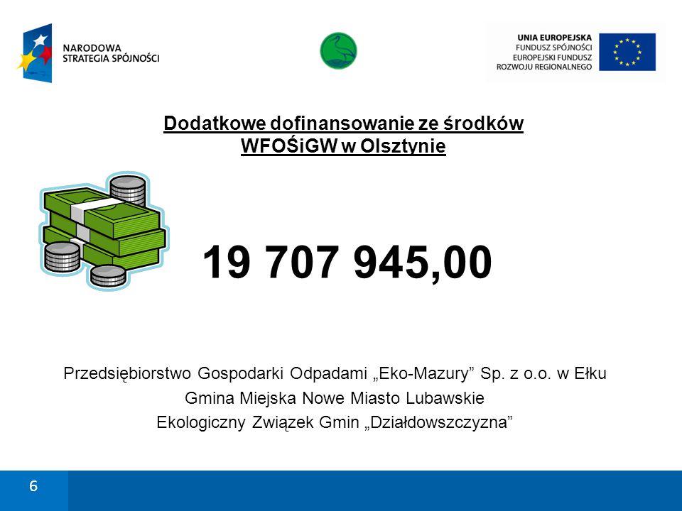 """Dodatkowe dofinansowanie ze środków WFOŚiGW w Olsztynie 19 707 945,00 Przedsiębiorstwo Gospodarki Odpadami """"Eko-Mazury"""" Sp. z o.o. w Ełku Gmina Miejsk"""
