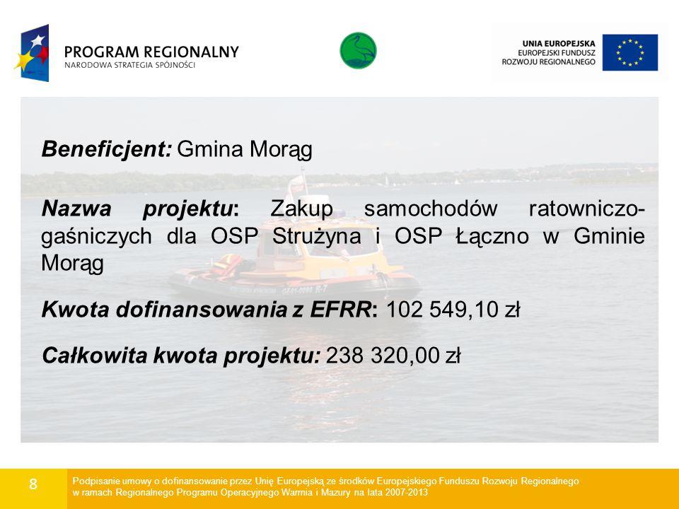 9 Beneficjent: Wodne Ochotnicze Pogotowie Ratunkowe Województwa Warmińsko-Mazurskiego w Olsztynie Nazwa projektu: Doposażenie grupy operacyjnej Wodnego Ochotniczego Pogotowia Ratunkowego Województwa Warmińsko-Mazurskiego w Olsztynie w sprzęt specjalistyczny do ratownictwa ekologicznego na wodach otwartych Kwota dofinansowania z EFRR: 272 256,00 zł Całkowita kwota projektu: 340 320,00 zł Podpisanie umowy o dofinansowanie przez Unię Europejską ze środków Europejskiego Funduszu Rozwoju Regionalnego w ramach Regionalnego Programu Operacyjnego Warmia i Mazury na lata 2007-2013